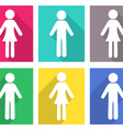 Man and woman flat icons vector image vector image