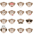 monkey smiley faces set vector image vector image