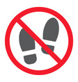no shoes glyph icon prohibition and forbidden vector image vector image