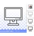 pc monitor simple black line icon vector image