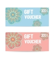 Pink and blue Gift voucher template with color vector image