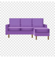 purple living room sofa mockup realistic style vector image vector image