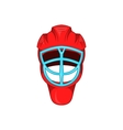Red hockey helmet with cage icon cartoon style vector image vector image