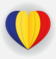 romania flag paper cut heart independence day vector image