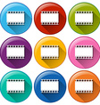 Round buttons with movie films vector image vector image
