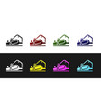 set electric planer tool icon isolated on black vector image vector image