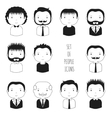 Set of monochrome male faces icons Funny cartoon vector image vector image