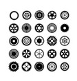 set of silhouettes gears vector image