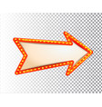 shining isolated retro bulb light frame arrow vector image