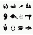 Spa doodle hand drawn sketch black icons set with vector image