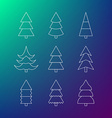 Thin line icon set of Christmas trees vector image vector image