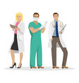 three doctors in work clothes medical vector image