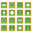 Time and clock icons set green