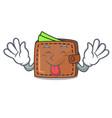 tongue out wallet mascot cartoon style vector image vector image