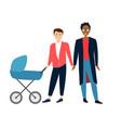 two gay cartoon men couple with bain a stroller vector image vector image