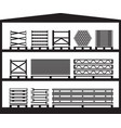 warehouse with construction scaffolding vector image vector image