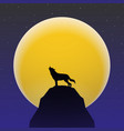wolf howling in front of super moon vector image