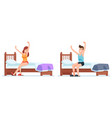 woman and man wakes up early ge up in bedroom vector image