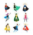 cartoon female superhero characters icon set vector image