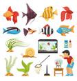 aquaristics aquarium fish set vector image