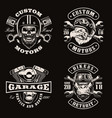 black and white vintage bike emblems on dark vector image vector image