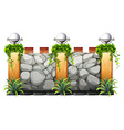 Brick wall with lamp and grass vector image