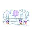 businessmen change event schedule time management vector image