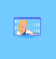 businesswoman having online briefing or virtual vector image vector image