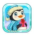 Cartoon app icon with cute penguin vector image vector image