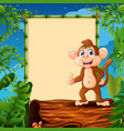 cartoon monkey standing on hollow log near the emp vector image vector image