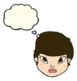 cartoon serious face with thought bubble vector image vector image