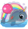 cartoon whale with with horn and balloon vector image vector image