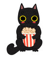 cat eating popcorn isolated on white background vector image