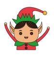 color image cartoon half body christmas elf with vector image vector image