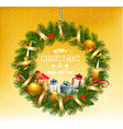 colorful gift boxes and christmas wreath vector image vector image
