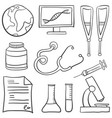 doodle of medical element collection vector image