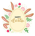 easter card with rabbits ears and greeting egg vector image vector image