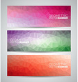 geometric triangles banner background set vector image vector image