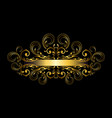 gold frame with original ribbon curls beads vector image vector image