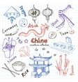 Hand drawn doodle China symbols set vector image vector image