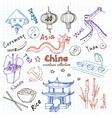 hand drawn doodle china symbols set vector image vector image