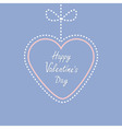 Hanging dashed line heart with bow Love greeting vector image vector image