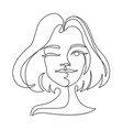 happy woman winks one line art portrait vector image