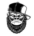 head gorilla in baseball cap design element vector image