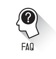 Human head with question mark symbol vector image vector image