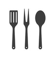Icon of kitchen tools Fork spoon and fry shovel vector image vector image