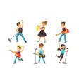 kids playing musical instruments and singing vector image vector image