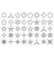 line star icons outline stars shapes rating vector image