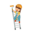 little girl builder wearing hard hat and overall vector image vector image