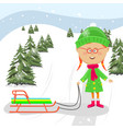little girl standing with sledge ready to ride vector image vector image